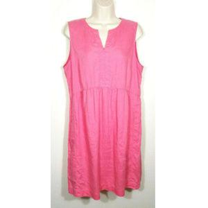 J. JILL Love Linen Pink Shift Dress Pockets 2195E1